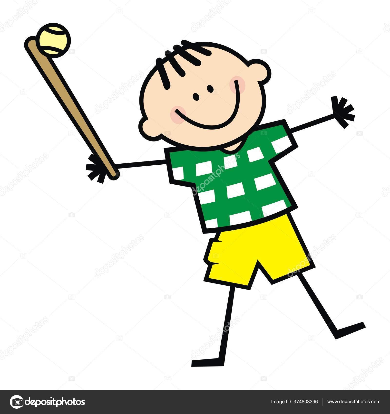 Софтбол Забавная Векторная Иллюстрация Человек Битой Мячом ...