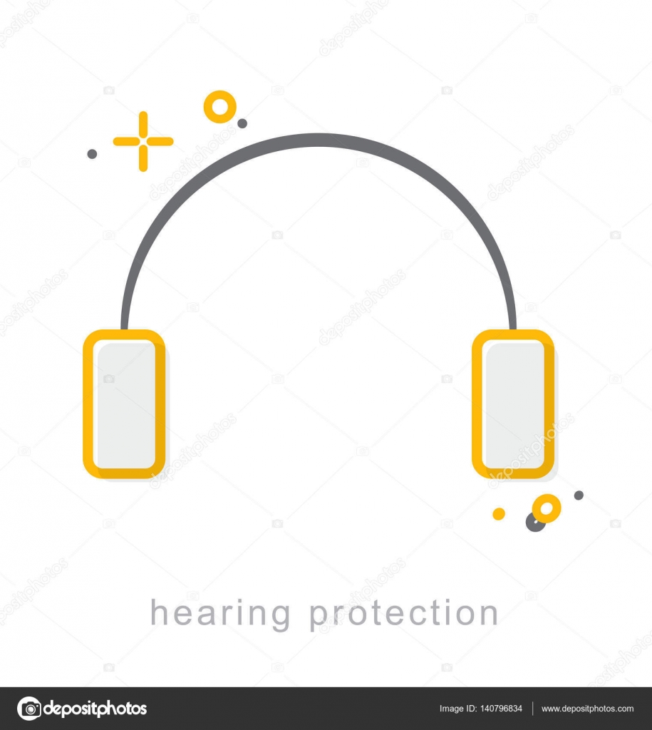 Thin Line Icons Hearing Protection Stock Vector Thesomeday123