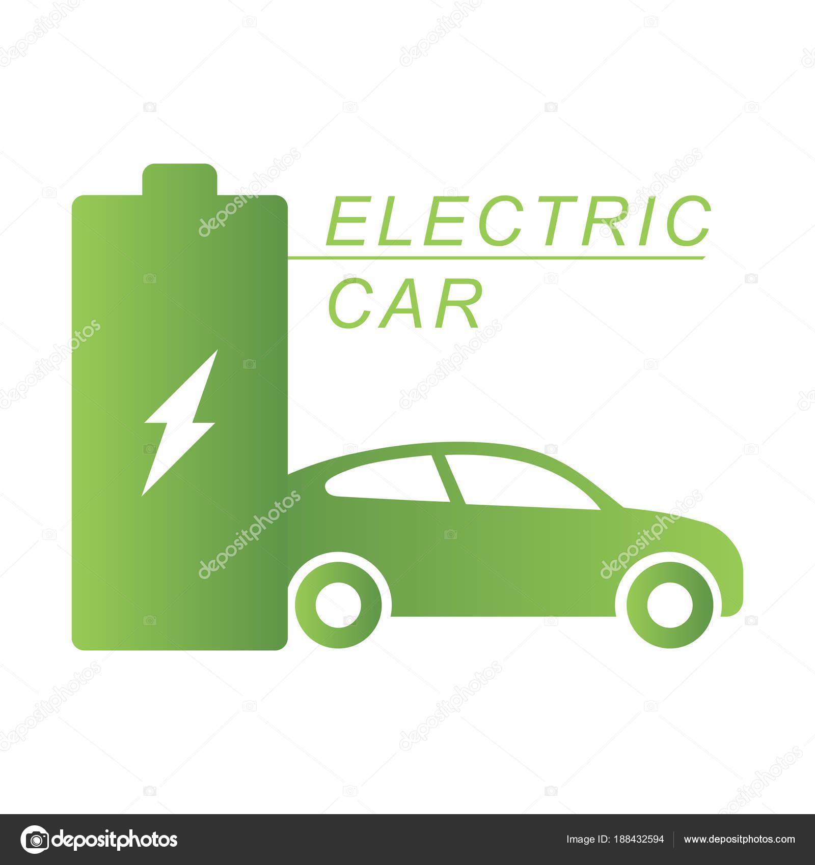 Elektroauto und elektrische Station grüne Ladesymbol — Stockvektor ...
