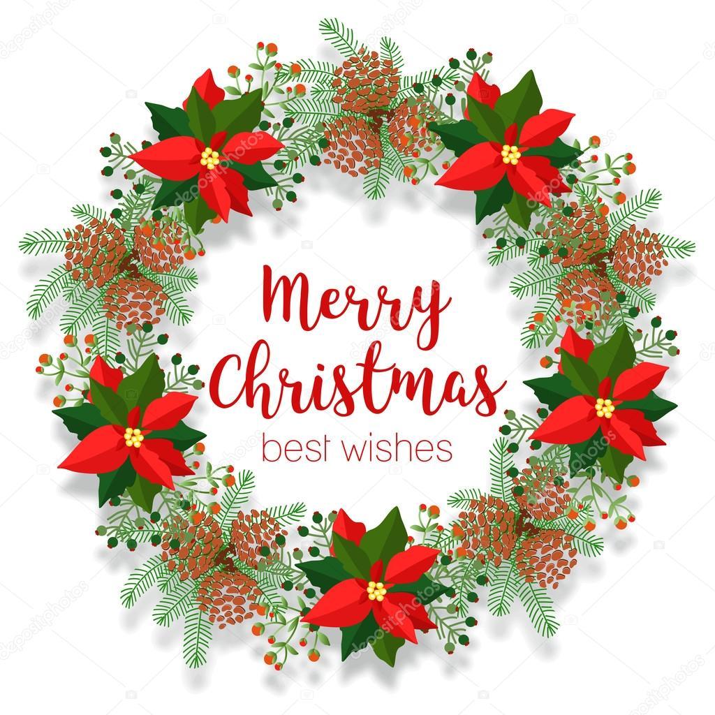 クリスマス花の花輪、ラウンド フレーム、空白のバナー、ポインセチア