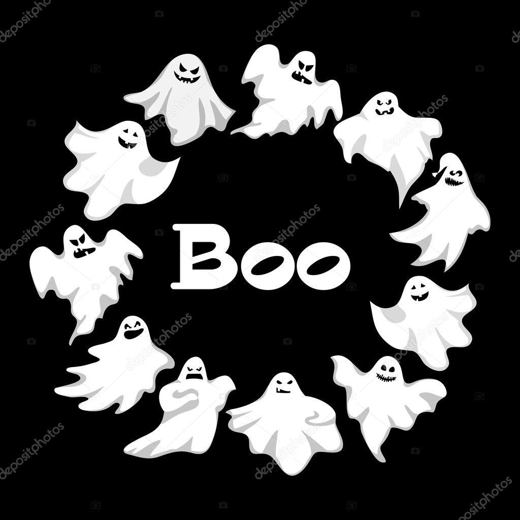 Cartone animato insieme spettrale fantasma carattere