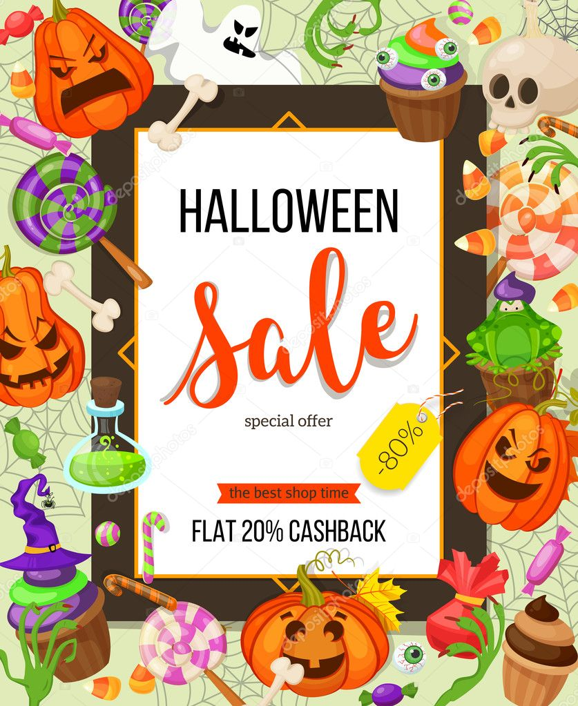 Halloween sale offer design template.Vector background with pumpkin ...