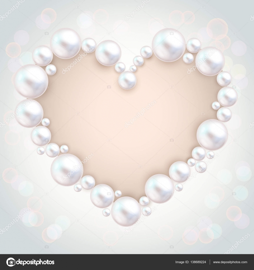 Perla de perlas marco de invitación de boda en fondo gris. Pulsera ...