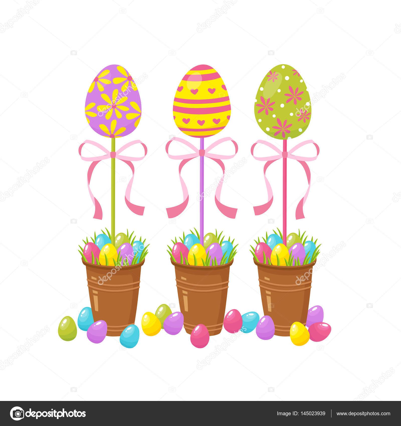 Albero Di Uova Elemento Tradizionale Di Pasqua Simboli Di Feste