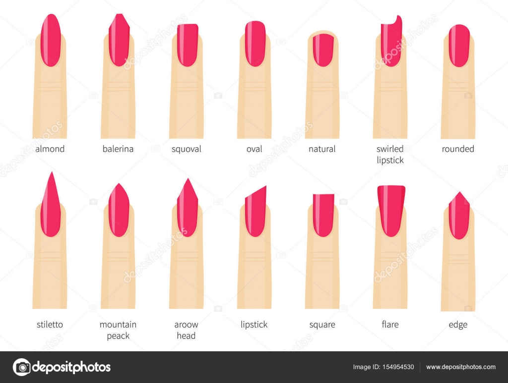 Different fashion nail shapes. Set kinds of nails. Salon ... Almond Nails Tumblr