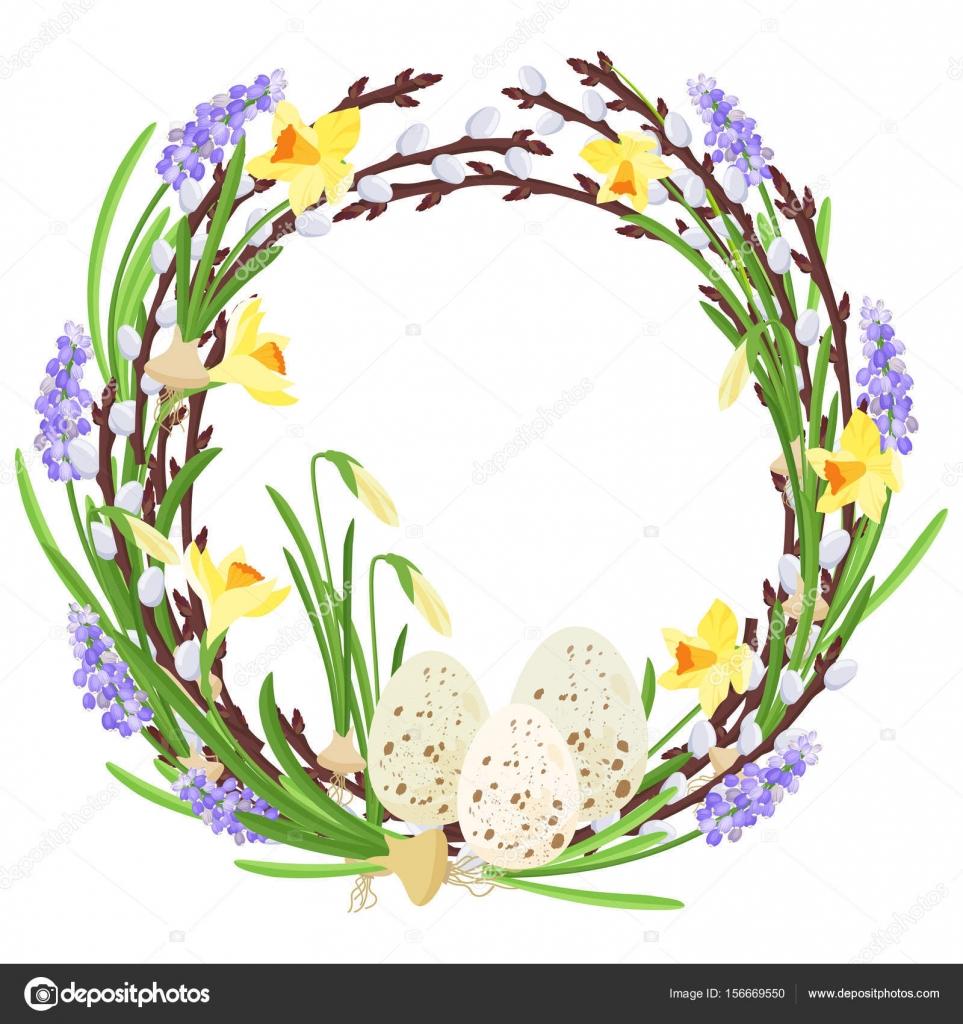 Blumenkranz mit Frühlingsblumen. Botanische Illustration. Pastell ...