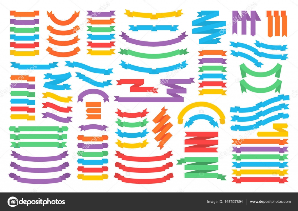 Retro Text Ribbon Banners In Flat Style Paper Templates In Origami