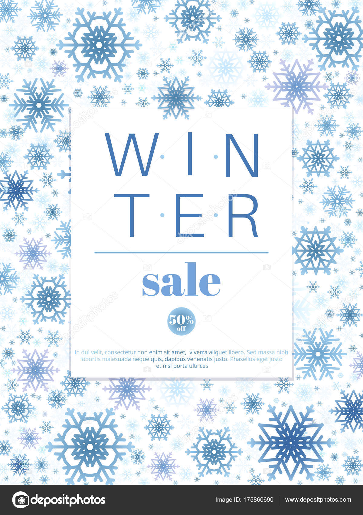 winter sale banner or poster template design background stock