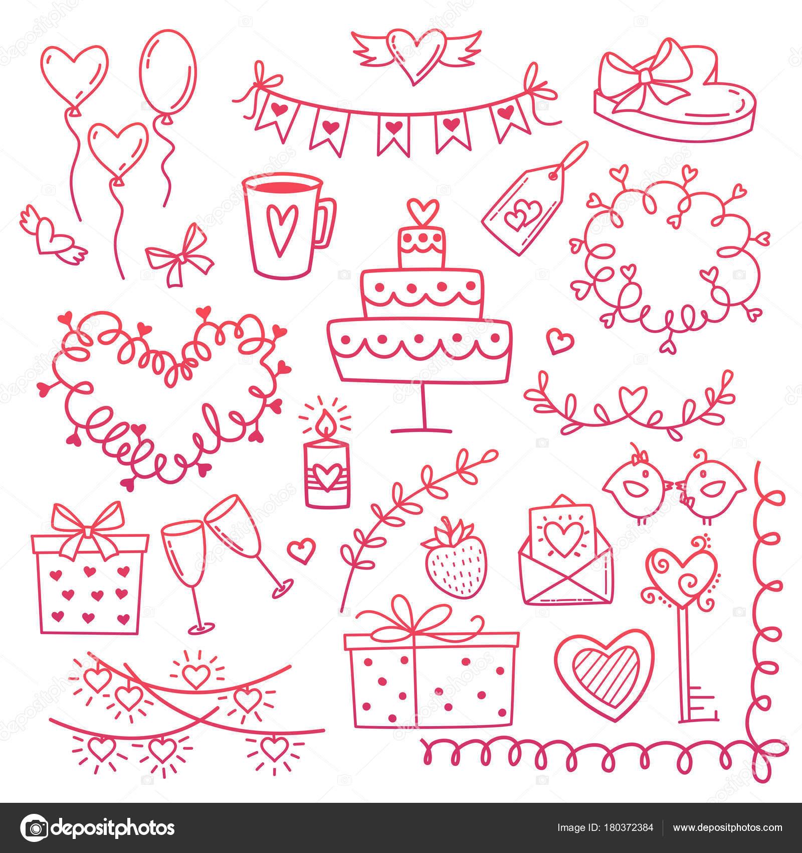 Conjunto de elementos de amor doodle de dibujado a mano para la boda ...