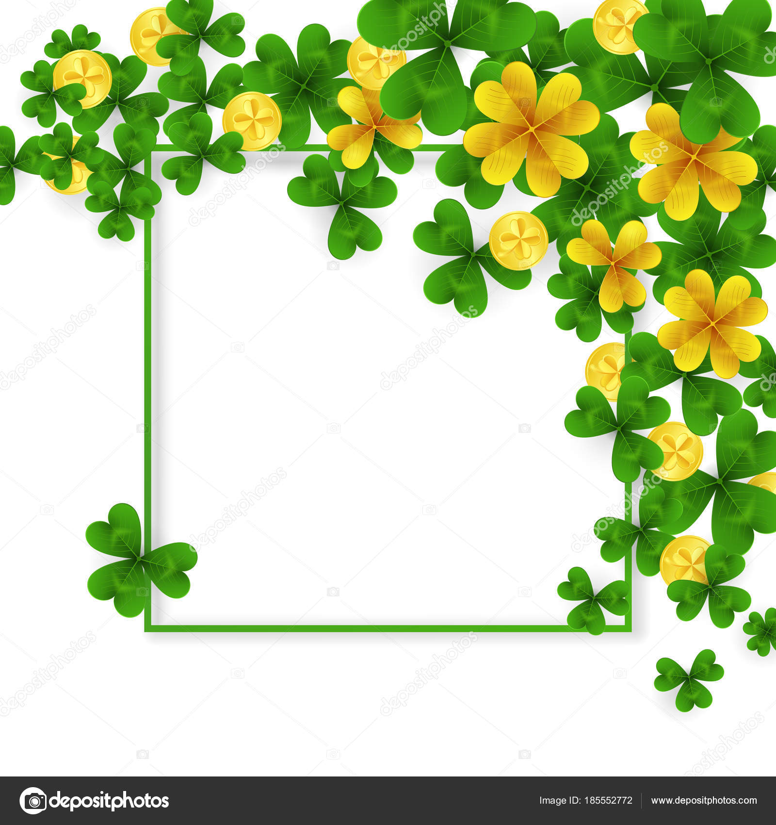 Saint Patrick Day Border With Green And Gold Four Tree