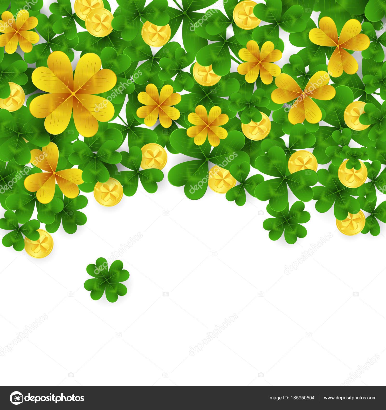 Saint Patrick s Tag Grenze mit Grün und gold vier und drei Blatt ...