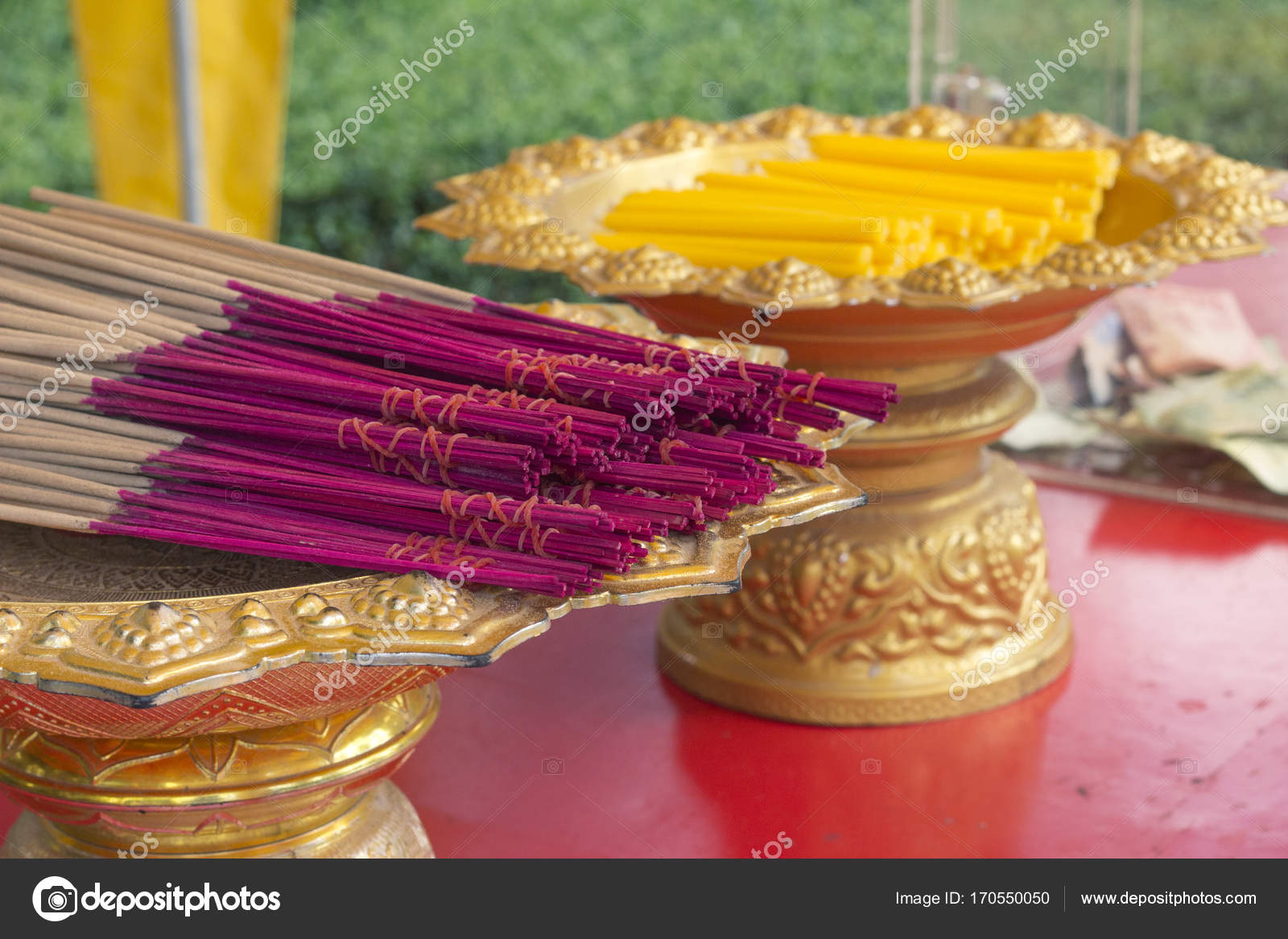 Praying offering - candles and flavored sticks — Stock Photo © andia