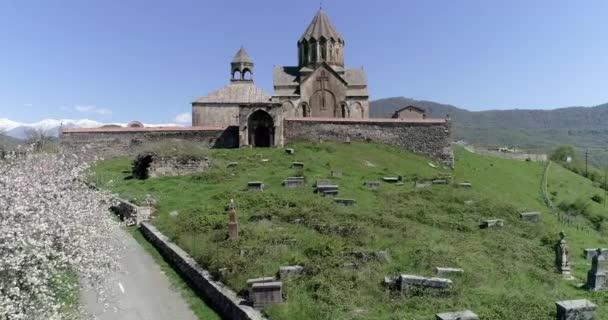 Round panorama of monastery gandzasar and flowering tree. 426 134741 04