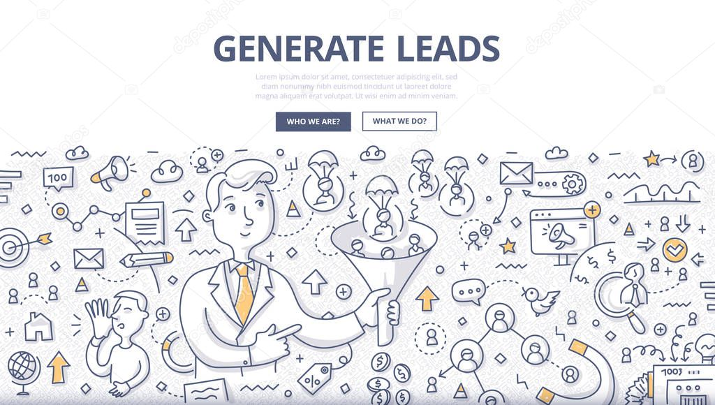 Doodle vector illustration of generating leads using such channels as: e-mail, website, networking, social media, influencer marketing . Concept of getting leads flow to grow business for web banners, hero images, printed materials clipart vector