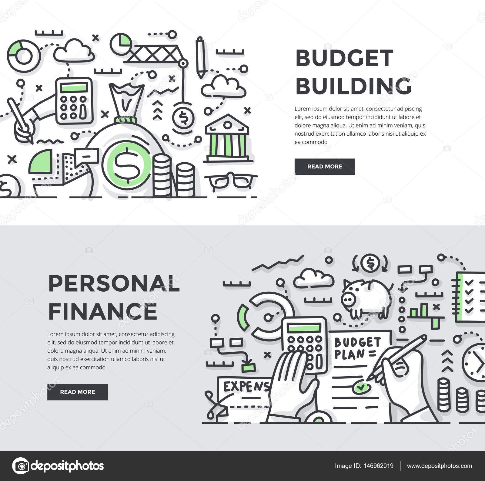 construcción de presupuesto y finanzas personales doodle banners