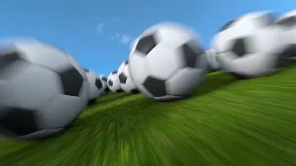 Végtelen futball-labdák repülési