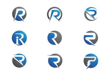 R letter logo and template