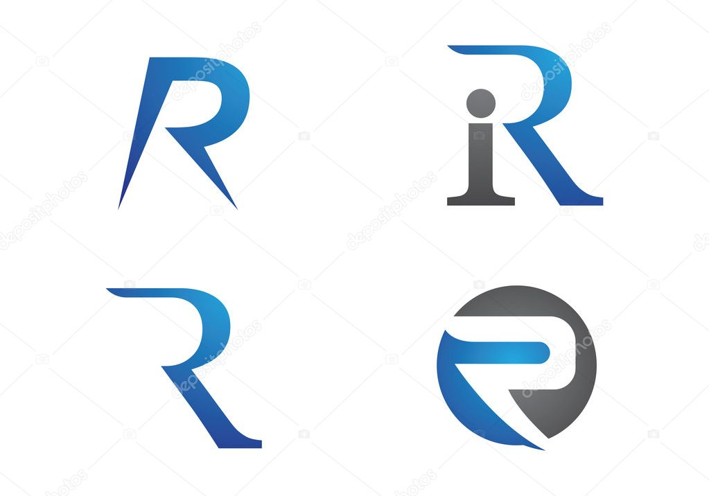 r letter logo and template stock vector