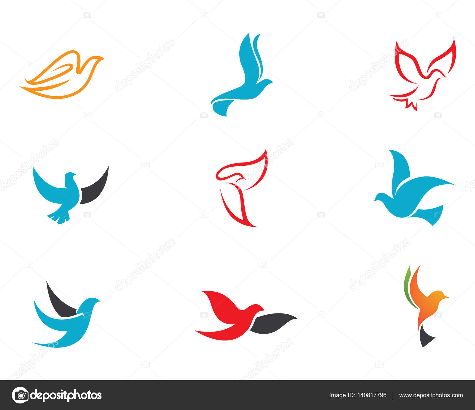 Dove bird logo and template — Stock Vector © elaelo #140817796