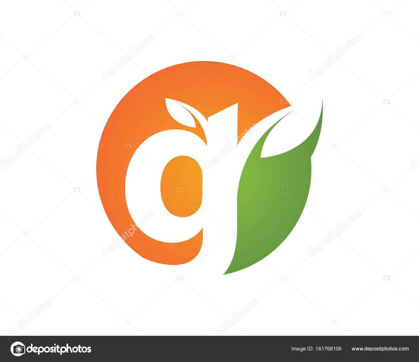 logo orange circle with green leaf vector and clip art