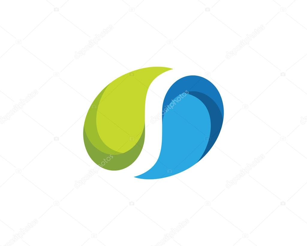 S Letter Water drop Logo Template
