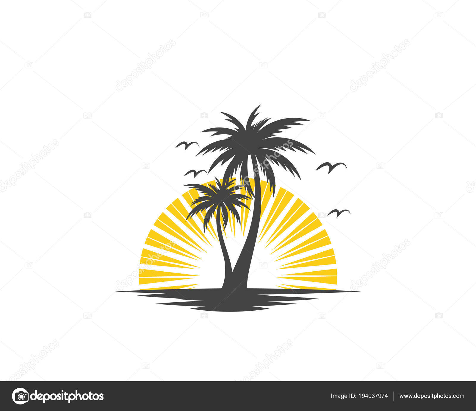 palm tree summer logo template stock vector elaelo 194037974