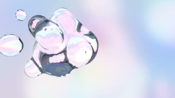 Abstraktní trojrozměrné animace barevné vodních kapek. Loop pozadí