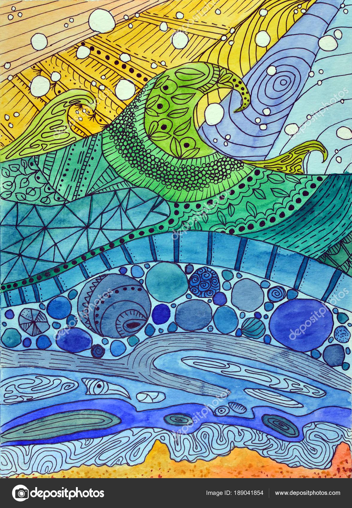 Peinture aquarelle abstraite. Vagues de vitraux Art Nouveau. Zig-zag ...