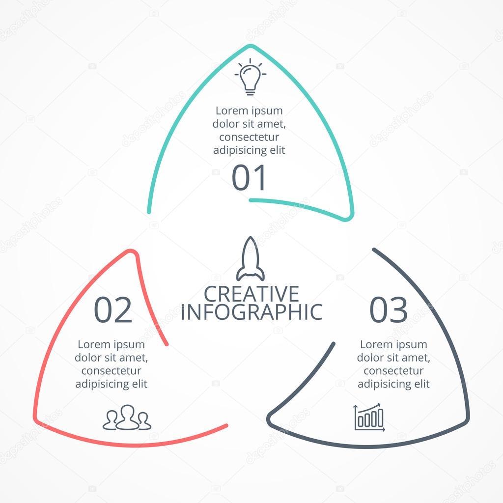 Vektor-Kreis Pfeile lineare Dreieck Infografik, Diagramm, Diagramm ...