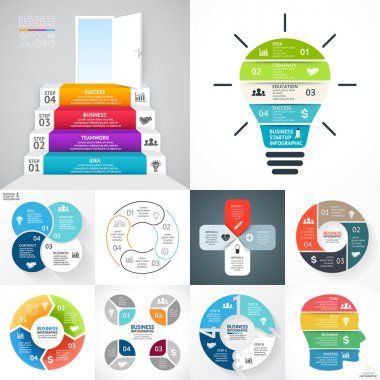 Vector circle infographic set. Business diagrams, arrows graphs, blur linear presentations, idea cycle charts. Data options, parts, 4 steps. Bulb, brain, eco, stairs, medical health plus sign.