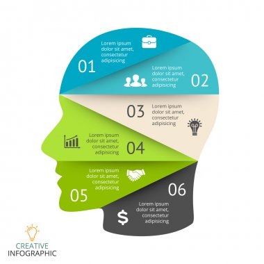 Vector brain infographic. Template for human head diagram, artificial intelligence graph, neural network presentation and face chart. Business idea concept with 6 options, parts, steps. Brainstorming.