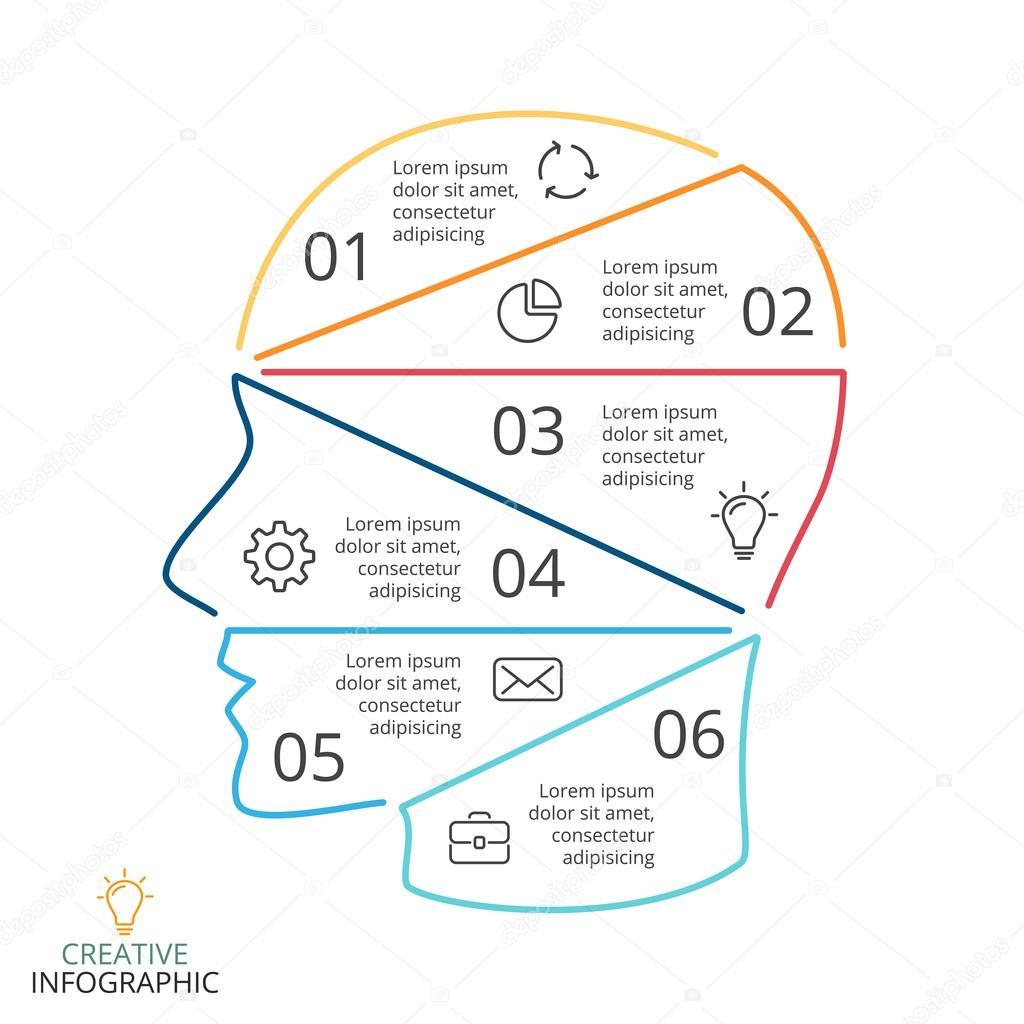 Vector cerebro infografía lineal. Diagrama de cabeza humana, gráfico ...