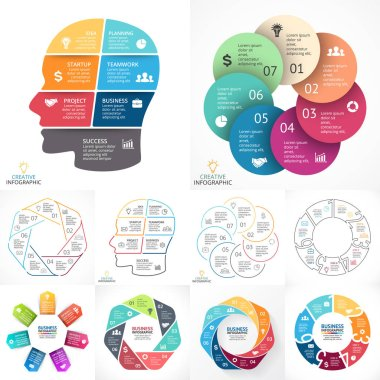 Vector circle infographic set. Business diagrams, arrows graphs, linear presentations, idea cycle charts. Data options, parts, 7 steps. Artificial intelligence, neural network, brainstorming.