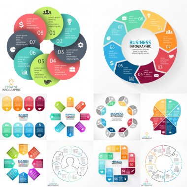 Vector circle infographic set. Business diagrams, arrows graphs, linear presentations, idea cycle charts. Data options, parts, 8 steps. Stickers, medical healthcare plus sign, human face, puzzle.