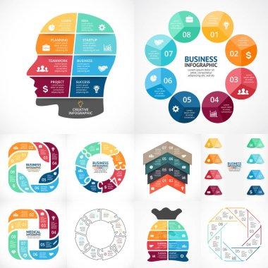 Vector circle infographics bundle. Business diagrams, arrows graphs, linear presentations, idea cycle charts. Data options, parts, 8 steps, processes. Brain, labels, medicine plus symbol, money bag.