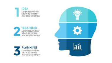 Vector brain infographic. Template for human head diagram, artificial intelligence graph, neural network presentation and face chart. Business idea concept with 3 options, parts, steps. 16:9 slide.