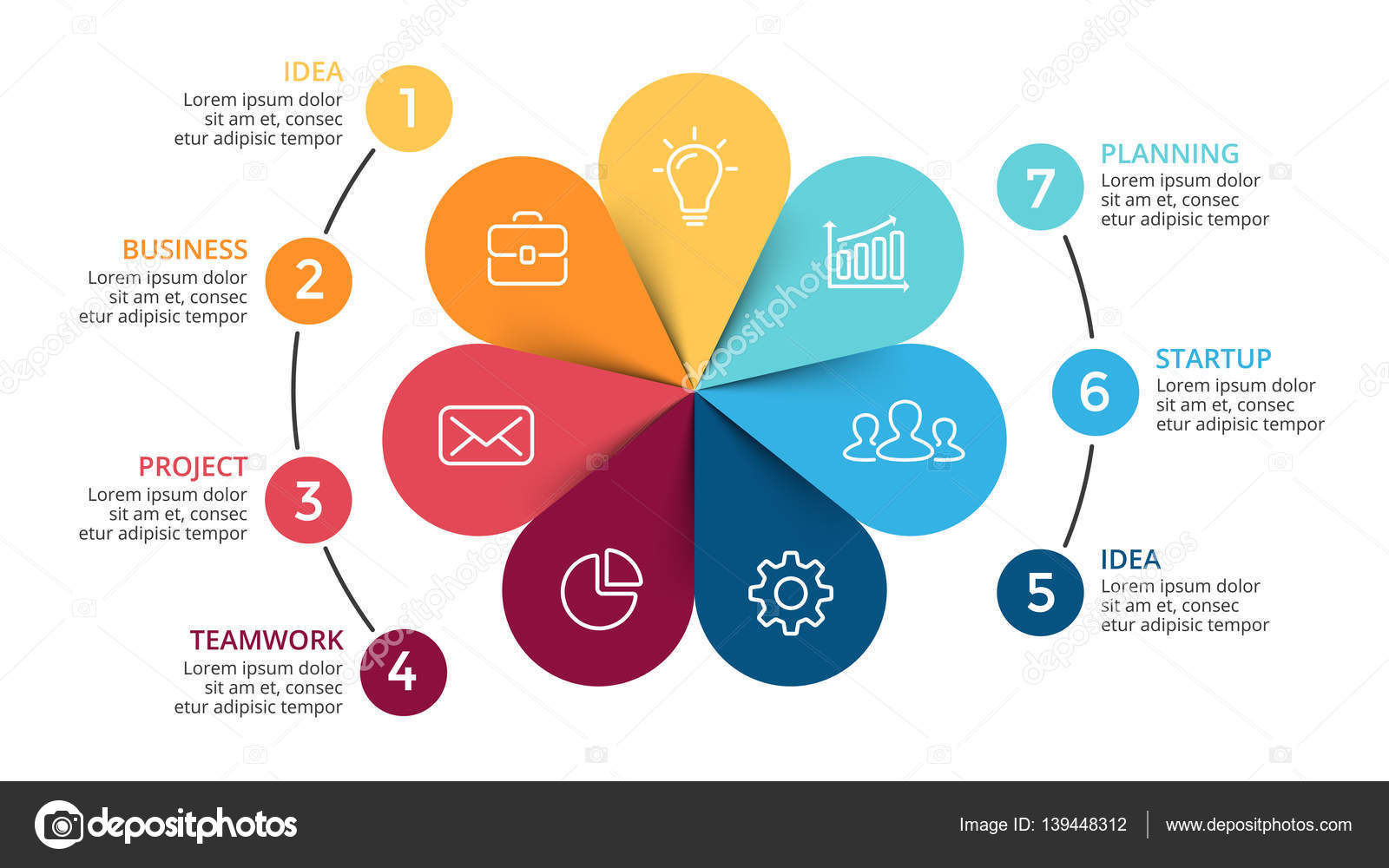 Vector circle arrows infographic cycle diagram flower graph circle arrows diagram for graph infographic presentation with steps parts options vector by theseamuss ccuart Choice Image