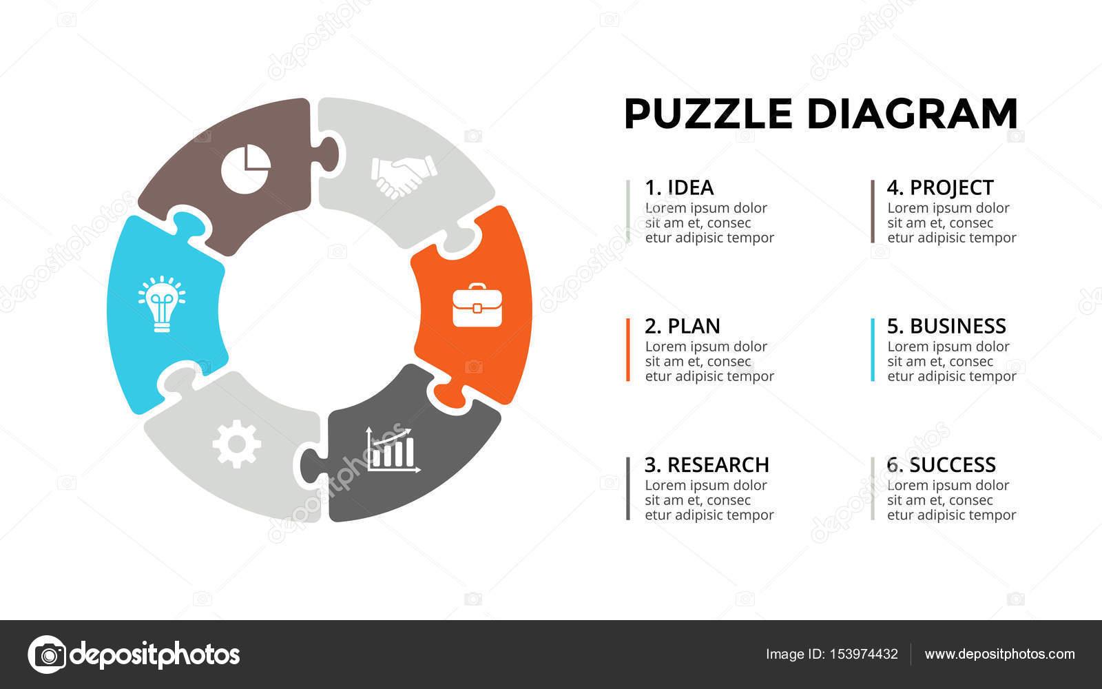 Kreis Vektorpfeile puzzle-Infografik, Diagramm, Diagramm, Diagramm ...