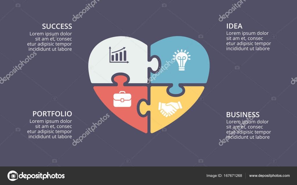 Puzzle corazón amor infografía de San Valentín de vectores, diagrama ...