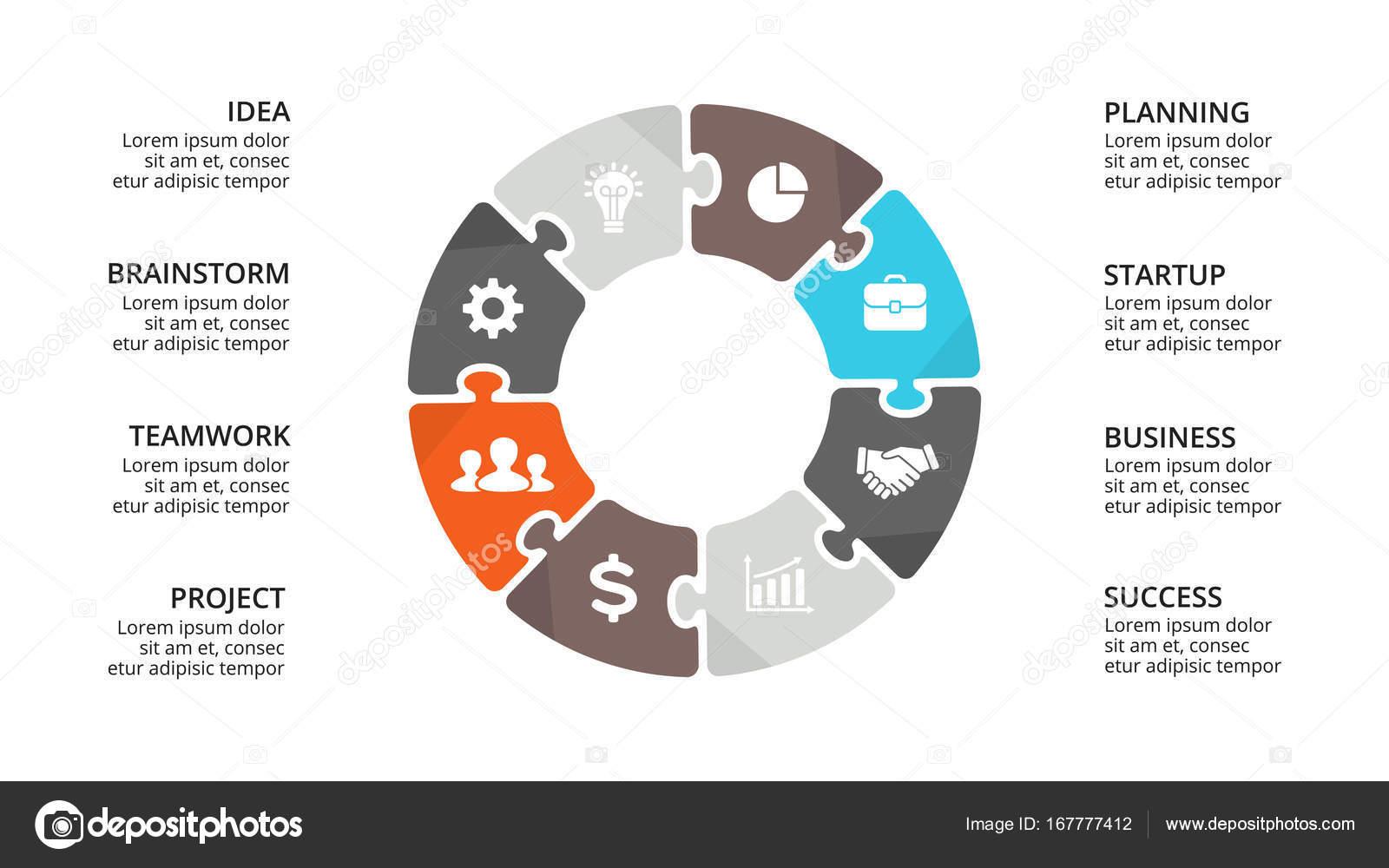 Vektor-Kreis puzzle-Infografik, Diagramm, Diagramm, Diagramm ...