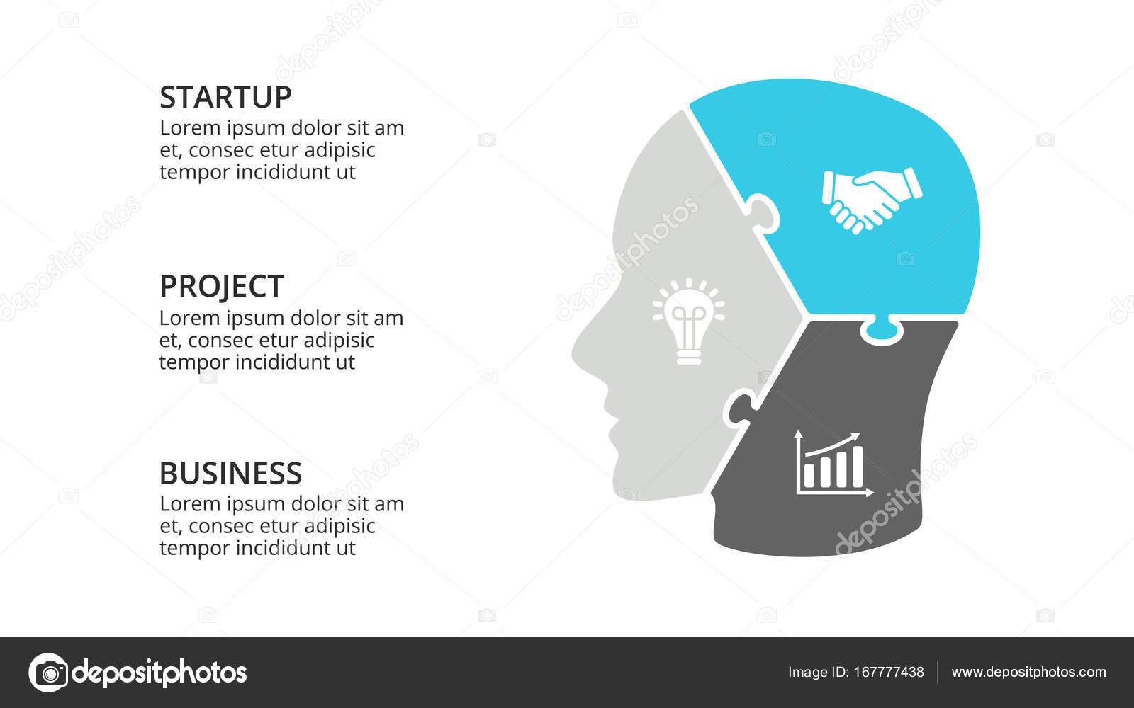 Infografía de cerebro de vector. Plantilla de diagrama de cabeza ...