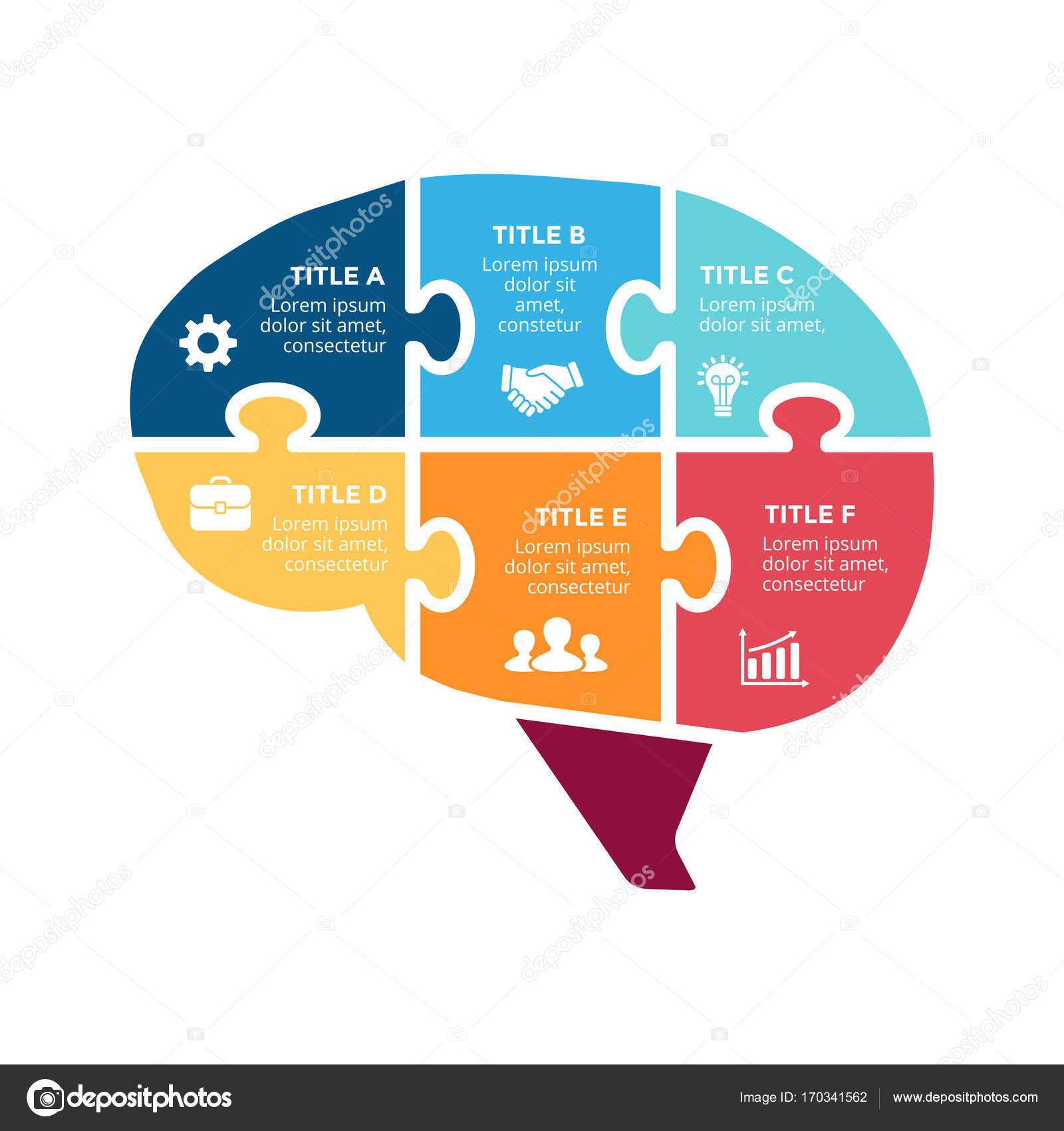 Vektor-Gehirn-Infografik. Vorlage für menschlichen Kopf Diagramm ...