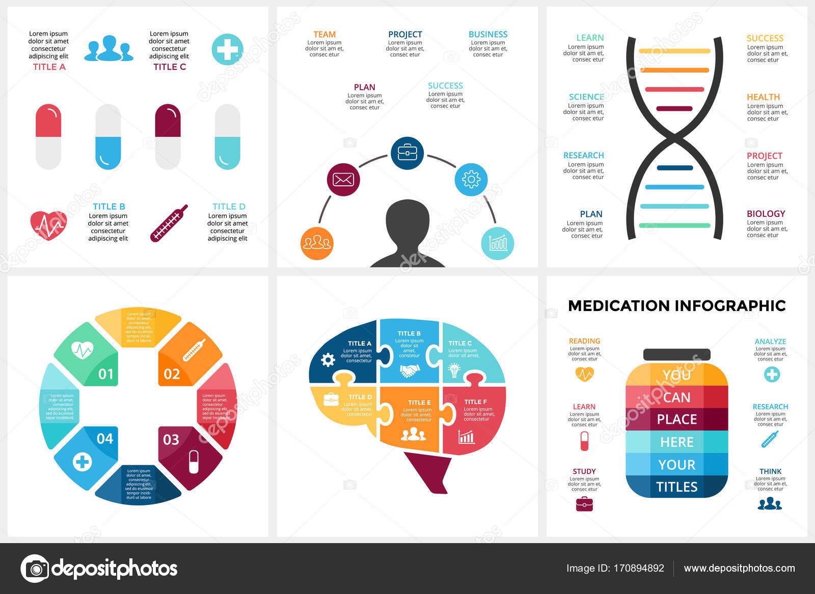 Vektor-Medizin-Infografik. Vorlage für menschliche Gehirn Diagramm ...