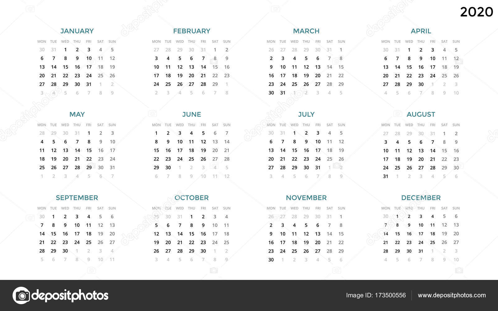2020 Time And Date Calendar Calendar infographic, table chart, presentation chart. Business