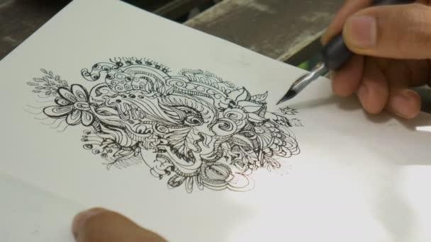 Vértes művész rajz doodle vonalas fekete tinta a papíron