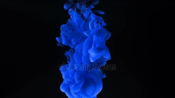 Blue ink splash on black background