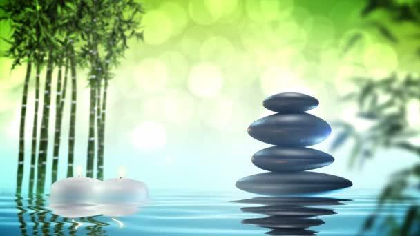 Zen stones with bamboo and water loop