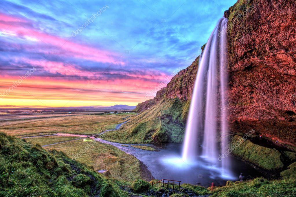 Фотообои Seljalandfoss Waterfall at Sunset, Iceland