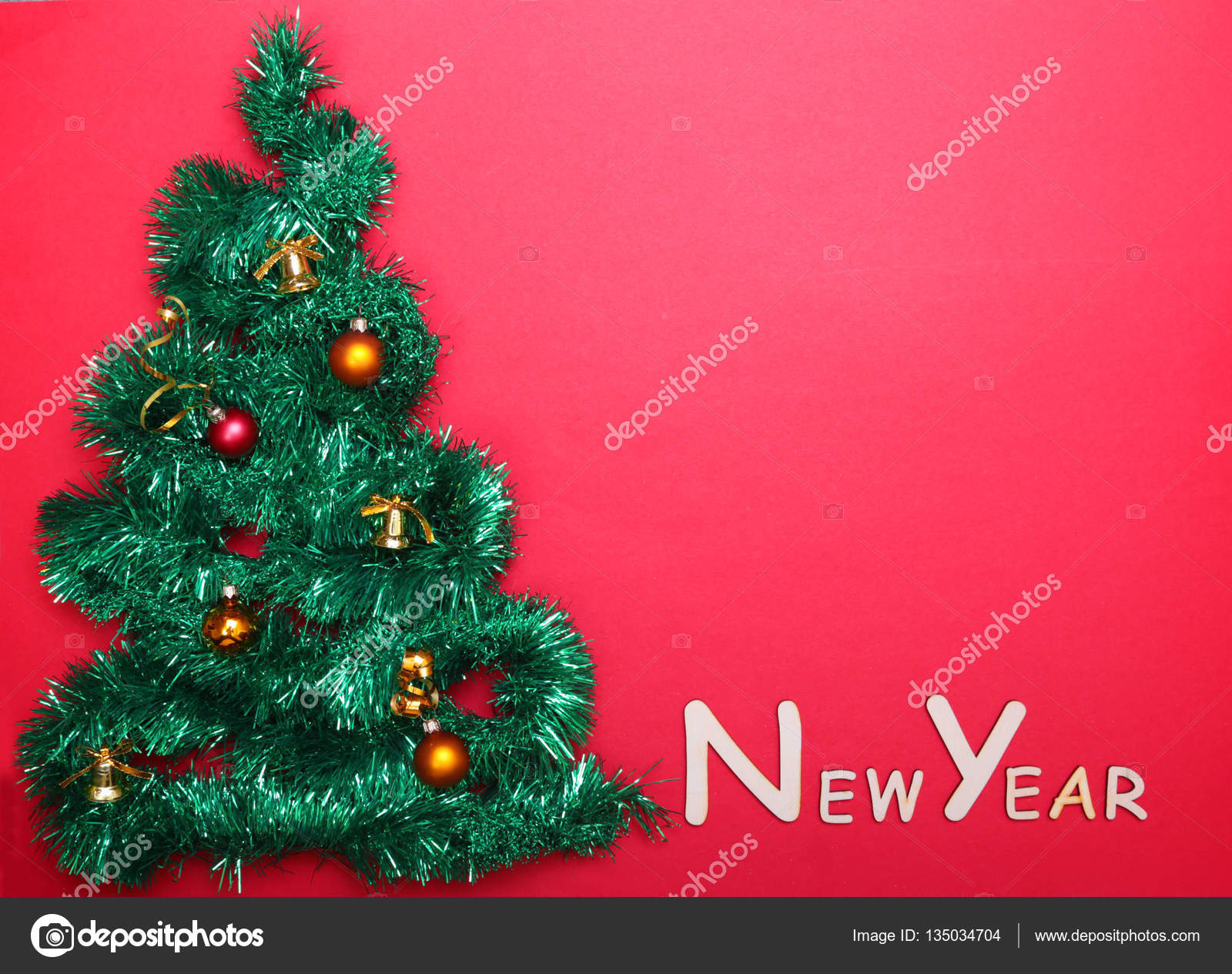 Small Decorated Christmas Tree With Happy New Year Text On The Wall Stock Photo C Vicby 135034704