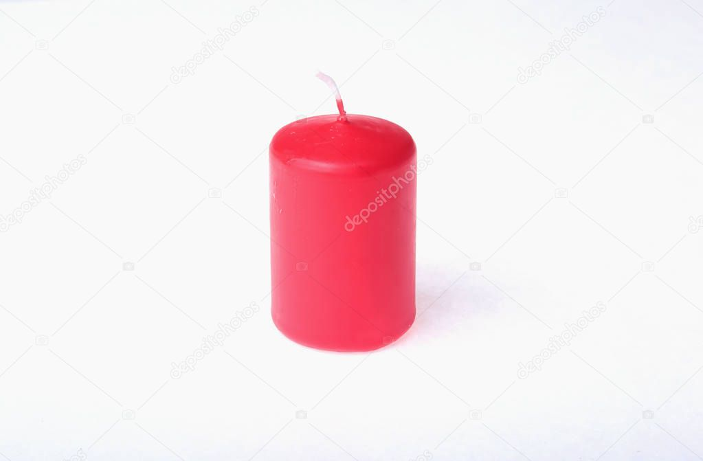 Set of colored candles isolated on white.